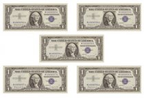 Set of 5 - 1957-B $1 Silver Certificates Consecutive Serial Numbers