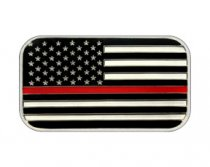 Enameled American Flag Design 1 oz Silver Bar Firefighter Red Line Prooflike