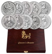 2016-2021 Great Britain 2 oz Silver Queen's Beasts - 10-Coin Complete Set £5 Coin GEM BU in Display Case
