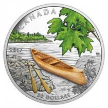 2017 Canada Canoe to Tranquil Times - 1 oz Silver Colorized Proof $20 Coin Wood Embellishment GEM Proof OGP