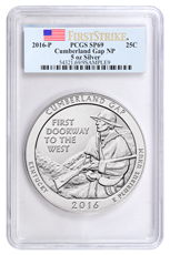 2016-P Cumberland Gap 5 oz. Silver America the Beautiful Specimen Coin PCGS SP69 FS (Flag Label)