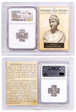 Roman Empire, Silver Denarius of Faustina Sr. (AD 138-140/1) - Posthumous Issue - Golden Age Hoard NGC AU Story Vault