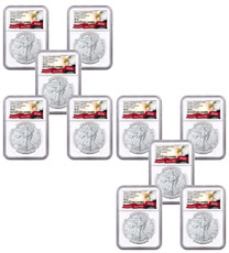 10-Pack - 2020-(P) 1 oz Silver American Eagle Struck at Philadelphia $1 Coins NGC MS69 FDI Exclusive Eagle Label