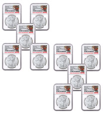10-Pack - 2021-(S) American Silver Eagle Emergency Production Struck at San Francisco Mint T-1 NGC MS69 ER Trolley Label