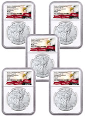 5-Pack - 2020-(P) 1 oz Silver American Eagle Struck at Philadelphia $1 Coins NGC MS69 FR Exclusive Eagle Label