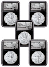 5-Pack - 2021-(S) American Silver Eagle Emergency Production Struck at San Francisco Mint T-1 NGC MS69 FR Black Core Holder Exclusive Heraldic Eagle Label