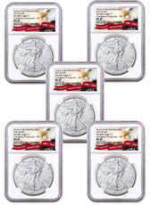 5-Pack - 2021-(S) American Silver Eagle Emergency Production Struck at San Francisco Mint T-1 NGC MS69 FDI Exclusive Eagle Label