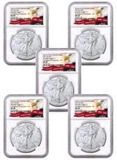 5-Pack - 2021-(S) American Silver Eagle Emergency Production Struck at San Francisco Mint T-1 NGC MS69 FR Exclusive Eagle Label
