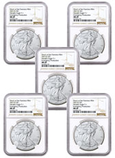 5-Pack - 2021-(S) American Silver Eagle Emergency Production Struck at San Francisco Mint T-1 NGC MS69 Brown Label
