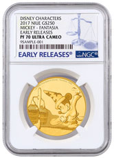 2017 Niue Disney Mickey Through the Ages - Fantasia 1 oz Gold Proof $250 NGC PF70 UC ER
