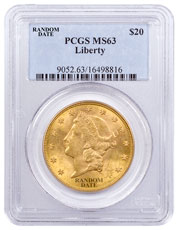 1877-1907 Liberty Head (With Motto) $20 Gold Double Eagle PCGS MS63