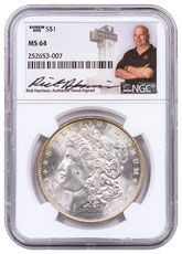 Random Date Morgan Silver Dollar NGC MS64 Exclusive Rick Harrison Signed Label