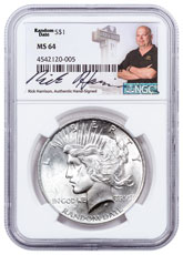 1922-1935 Silver Peace Dollar NGC MS64 Exclusive Rick Harrison Signed Label