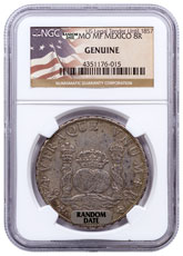 Random Date 1732-1771 Spain Silver 8 Reales - Pillar Type - NGC Genuine (US Legal Tender Until 1857 Label)