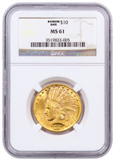 1907-1932 Indian Head $10 Gold Eagle NGC MS61
