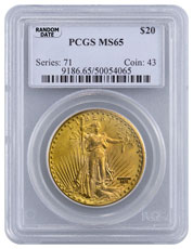 Random Date 1908-1932 Saint-Gaudens (With Motto) $20 Gold Double Eagle PCGS MS65