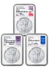 2017 American Silver Eagle NGC MS70 FDI (Jones, Mercanti, & Moy Signed Labels)