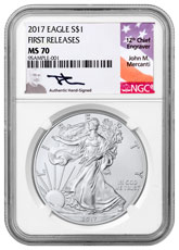 2017 American Silver Eagle NGC MS70 FR (Mercanti Signed Label)