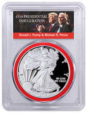 2017-W Proof American Silver Eagle PCGS PR70 DCAM FDI 1 of 1,000 (Red Gasket - Exclusive Trump & Pence Label)