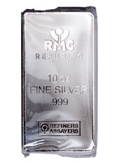 Republic Metals Corporation Logo 10 oz Silver Bar