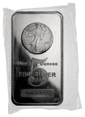 Walking Liberty Design Five (5) Troy oz. .999 Fine Silver Bar Highland Mint