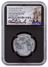 Apollo 11 50th Anniversary Full Moon 1/4 oz Silver Antiqued Medal NGC GEM BU Black Core Holder Charlie Duke Signed Label