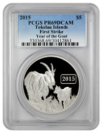 2015 PCGS Tokelau Islands Year of the Goat Coin