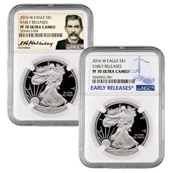 2016 Proof Silver Eagle with Doc Holiday and Early Releases Labels
