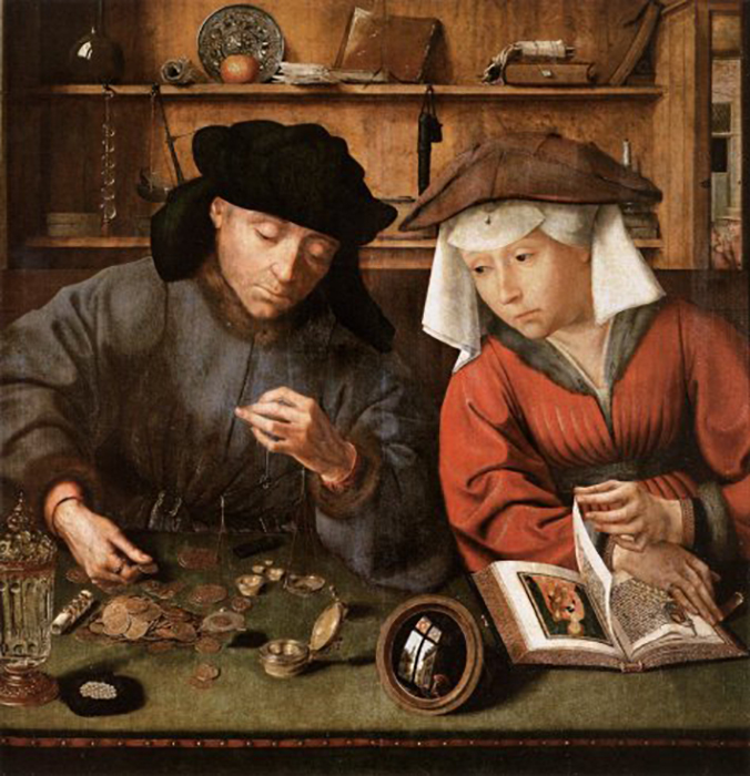Classic painting of two people looking at coins