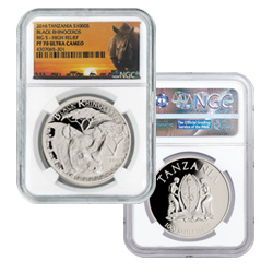 2016 Tanzania High Relief Proof Silver Black Rhino NGC PF70 UC
