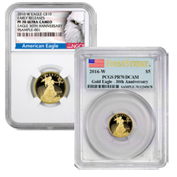 2016 Fractional Proof Gold Eagles certified PCGS and NGC