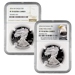 2016 Proof American Silver Eagles with Brown and Exclusive Eagle Labels