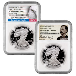 2016 Proof American Silver Eagles with Anniversary and Wyatt Earp Label