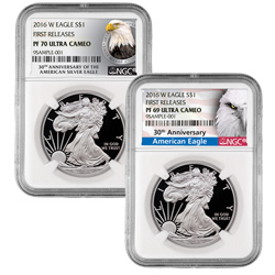 2016 Proof Silver Eagles with exclusive Eagle and Anniversary Labels