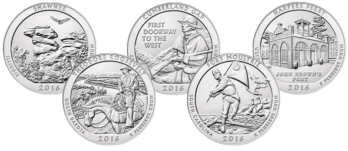 An overview of the 2016 America the Beautiful 5 oz. Silver Quarter Releases
