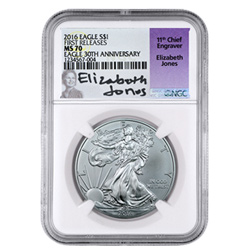 2016 American Silver Eagle NGC MS70 with Elizabeth Jones Signed label.