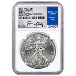 2016 American Silver Eagle NGC MS70 with Edmond C. Moy Signed label.