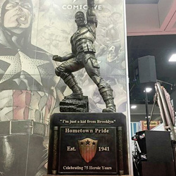 The new Captain America Statue on display