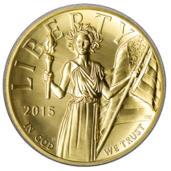 Obverse of the 2016 $100 1 oz. High Relief Proof Gold American Liberty.
