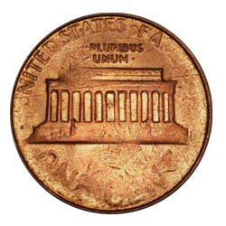 a struck-through Lincoln Cent.