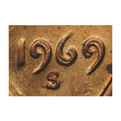 1969-S double die obverse Lincoln Cent.