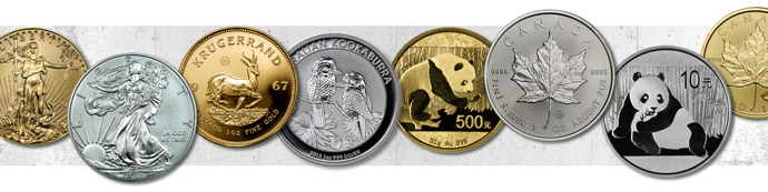 Silver and gold bullion coins