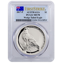 2017 Australia 1 oz Silver Wedge-Tailed Eagle $1 - PCGS MS70 First Strike (Flag Label)