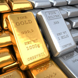 Large gold and silver bullion bars.